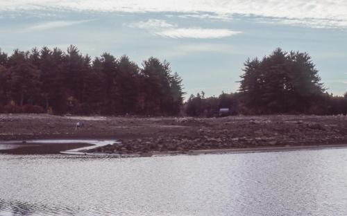 1985 view from South Channel toward Dolloff Dam, Rabbit Island on right